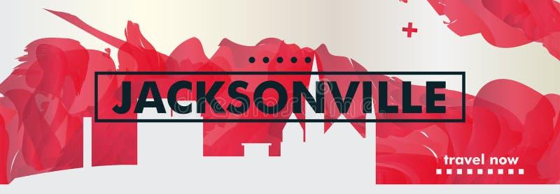 Pendiente de la ciudad del horizonte de los E.E.U.U. los Estados Unidos de América Jacksonville ilustración del vector