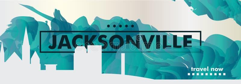 Pendiente de la ciudad del horizonte de los E.E.U.U. los Estados Unidos de América Jacksonville stock de ilustración