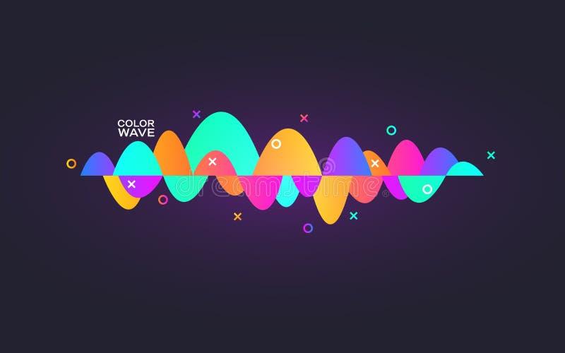 Pendiente de la onda acústica Equalizador digital colorido Plantilla auxiliar personal Línea dinámica abstracta Tecnología audio stock de ilustración