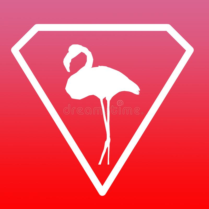 Pendiente de Logo Banner Image Red Pink del flamenco del pájaro stock de ilustración