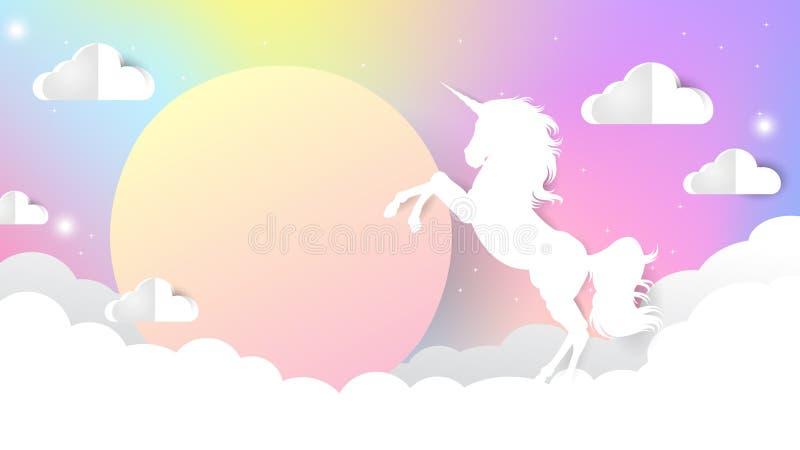 Pendiente del cielo del unicornio stock de ilustración