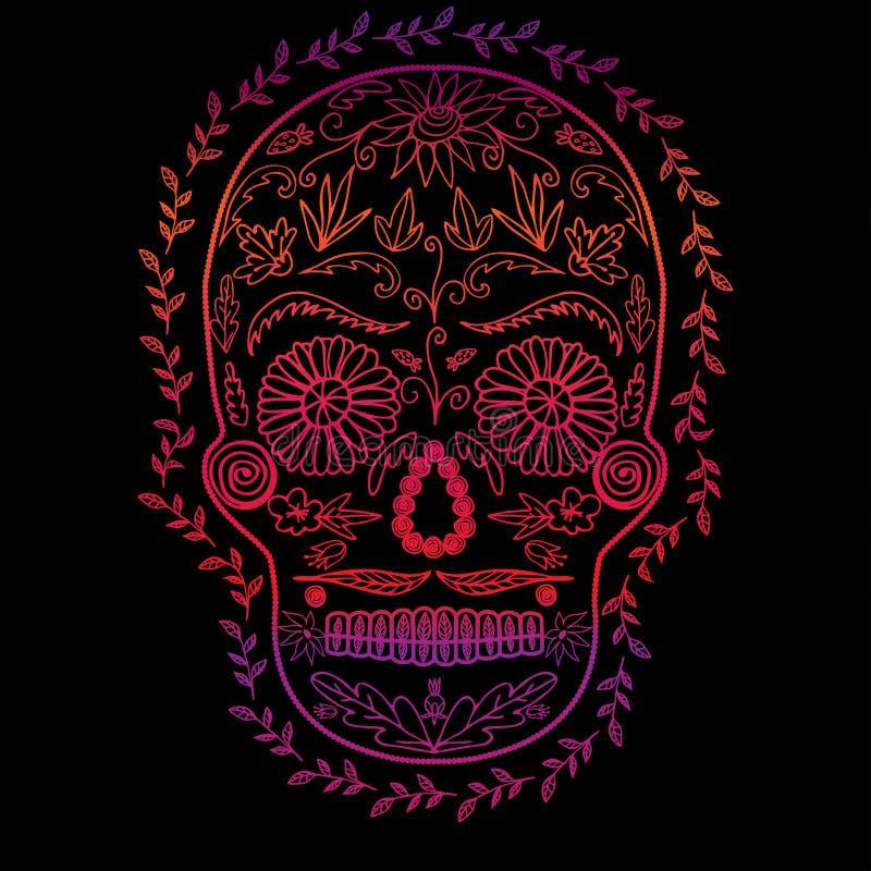 Pendiente del color del cráneo en el fondo negro, símbolo del día de la imagen muerta stock de ilustración