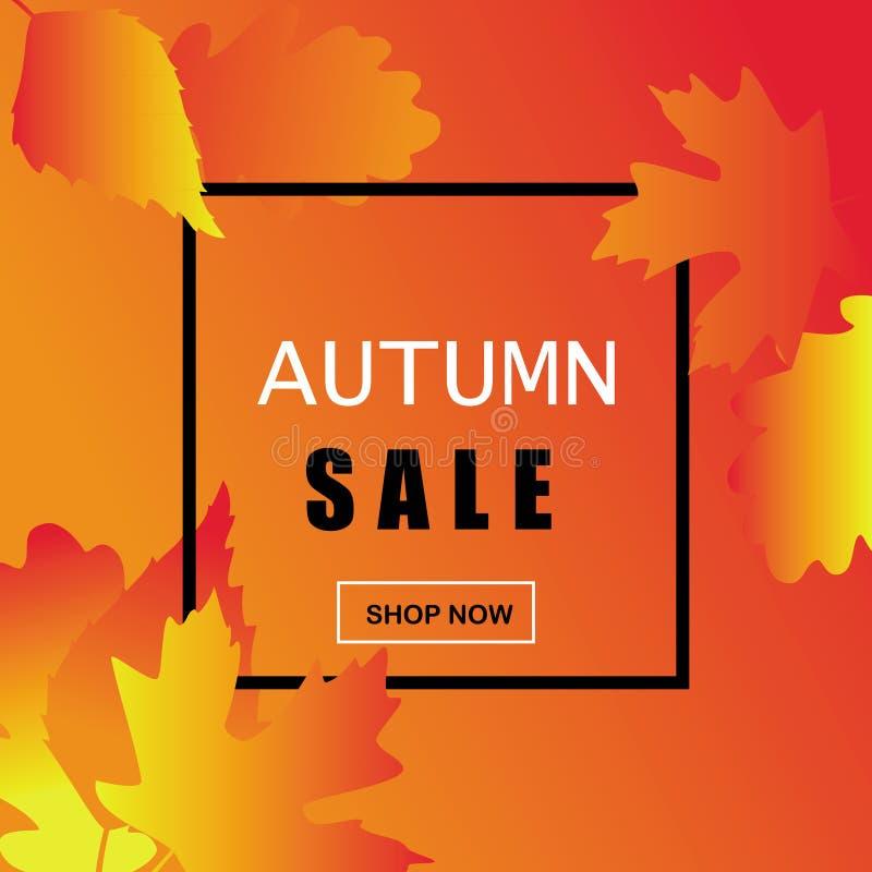 Pendiente en tonos amarillo-naranja, fondo de la venta del otoño con el marco blanco y negro, para hacer publicidad, ejemplo del  ilustración del vector
