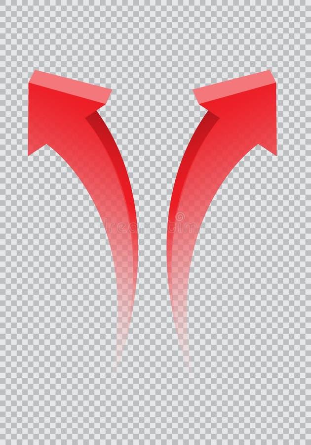 Pendiente gemela roja de la dirección de la curva de la flecha 3D transparente en vector a cuadros del símbolo de la muestra del  ilustración del vector