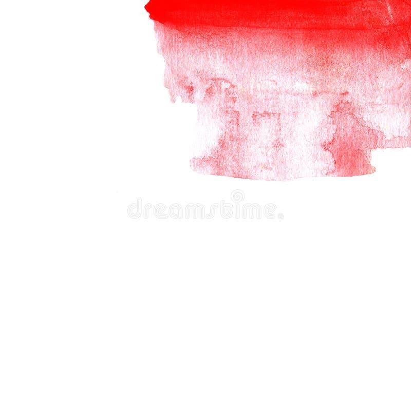Pendiente roja de la acuarela, fondo a mano de rojo al blanco stock de ilustración