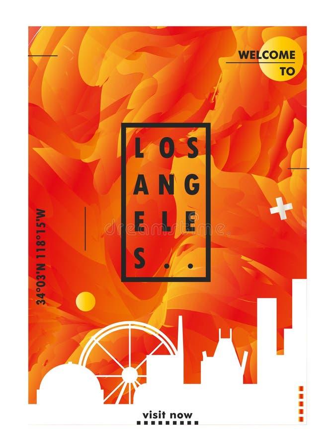 Pendiente v de la ciudad del horizonte de los E.E.U.U. los Estados Unidos de América Los Ángeles stock de ilustración
