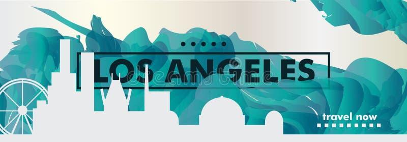 Pendiente v de la ciudad del horizonte de los E.E.U.U. los Estados Unidos de América Los Ángeles ilustración del vector
