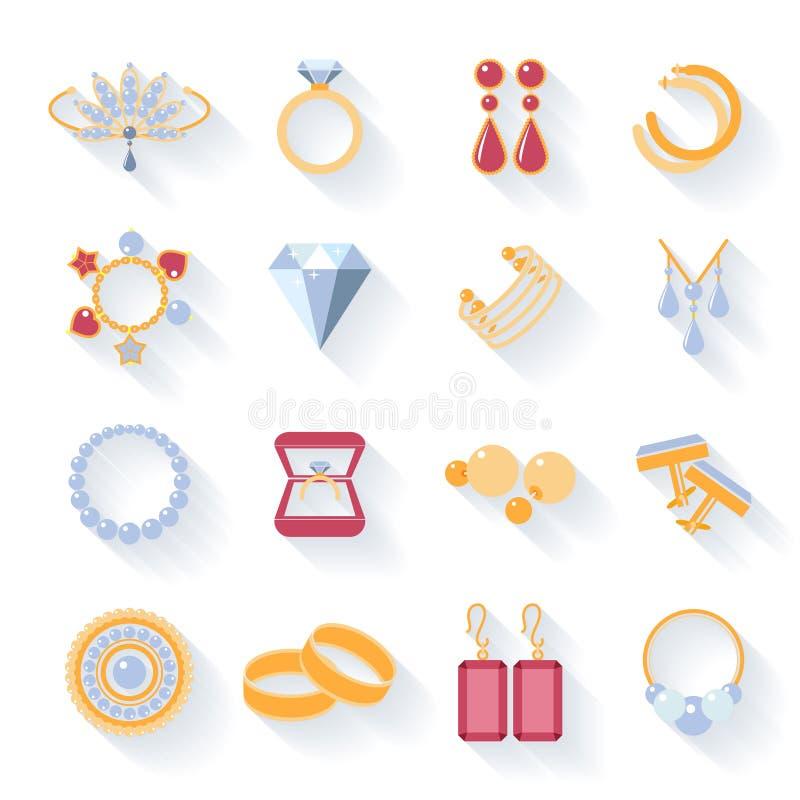 Pendientes, anillos, mancuernas y collares planos ilustración del vector