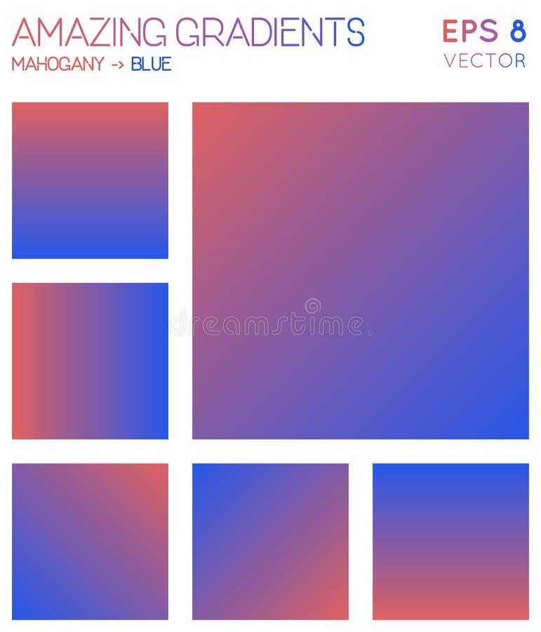 Pendientes coloridas en caoba, tonos azules del color stock de ilustración