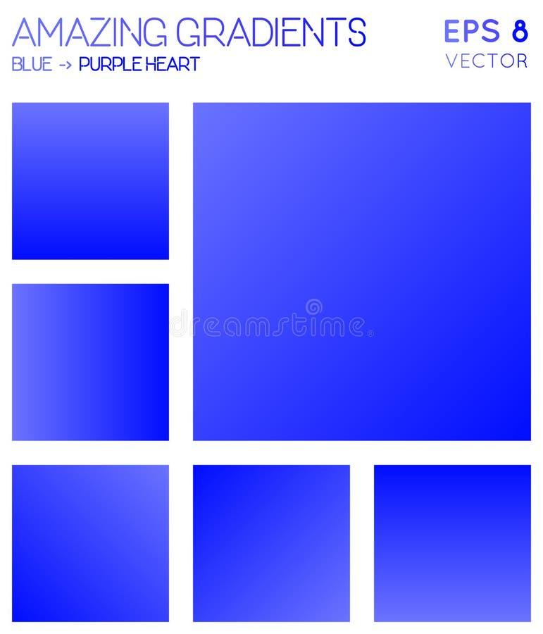 Pendientes coloridas en color del corazón azul, púrpura stock de ilustración