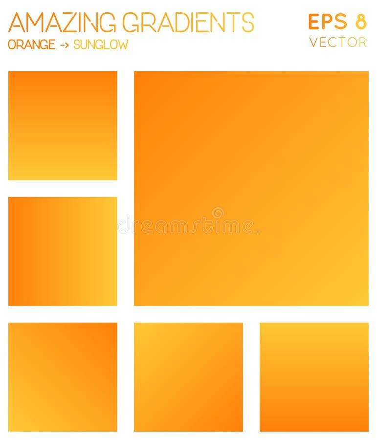 Pendientes coloridas en naranja, tonos del color del sunglow ilustración del vector