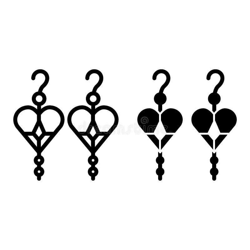 Pendientes con la línea de corazones y el icono del glyph Ejemplo del vector de la joyería aislado en blanco Diseño accesorio del ilustración del vector