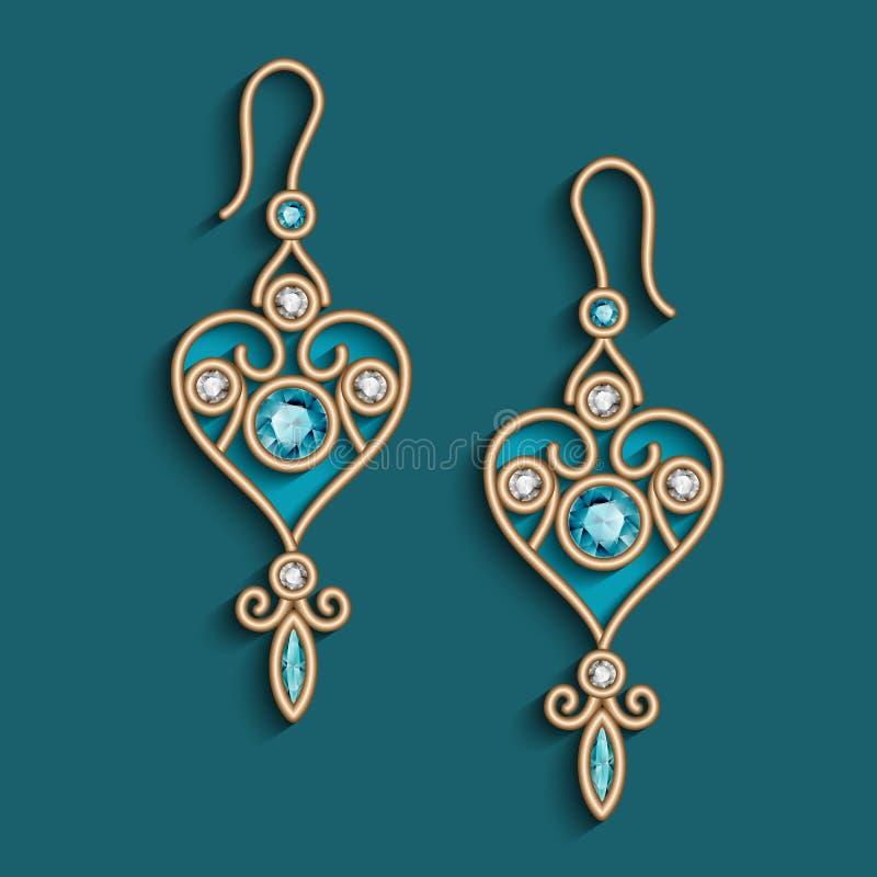Pendientes de la joyería del oro del vintage con las esmeraldas libre illustration