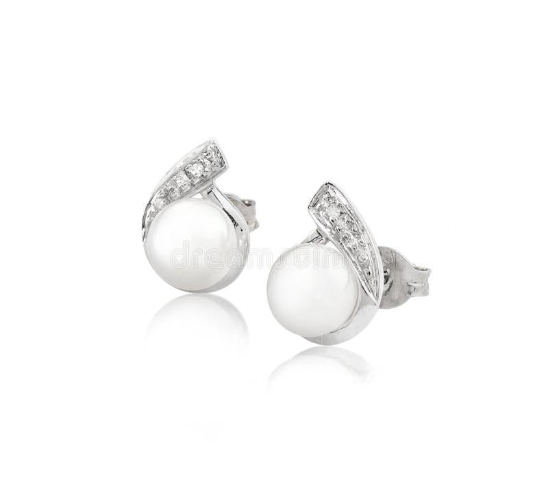 Pendientes De La Perla Y Del Diamante De La Elegancia Imagenes de archivo