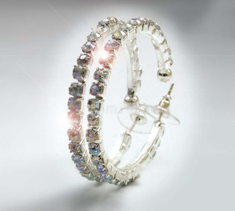 Pendientes de los diamantes foto de archivo libre de regalías