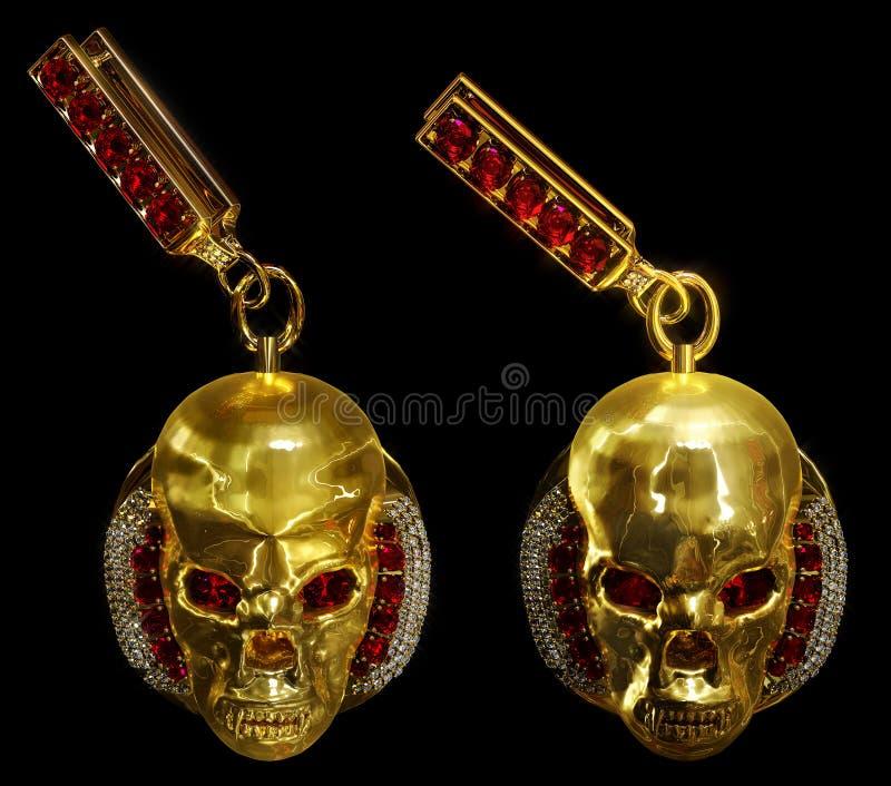 Pendientes del cráneo del oro de la joyería con el diamante y las gemas de rubíes rojas fotos de archivo