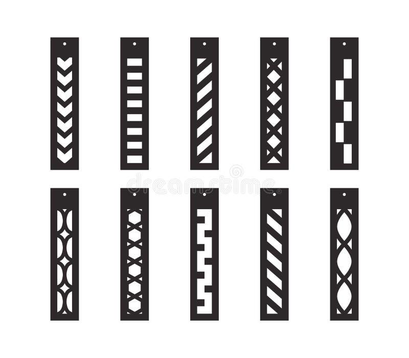 Pendientes del descenso de la barra con el modelo Colgante largo Pendientes largos ornamentales de la franja Plantilla de corte d stock de ilustración