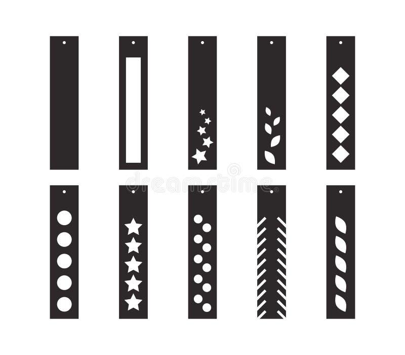 Pendientes del descenso de la barra con el modelo Colgante largo Pendientes largos ornamentales de la franja Plantilla de corte d libre illustration