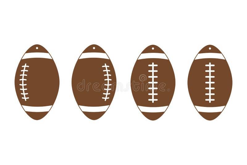 Pendientes del fútbol americano rugbi Plantillas de cuero del pendiente de la bola del deporte Vector libre illustration