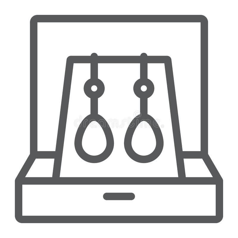 Pendientes en la línea icono de la caja, la joyería y el accesorio, caja de regalo con la muestra de la joyería, gráficos de vect ilustración del vector