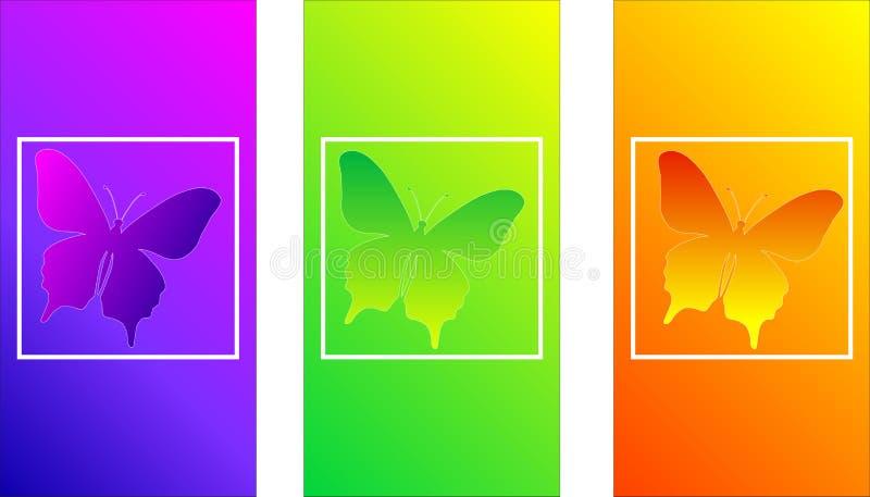 Pendientes suaves del color, mariposa del insecto, diseño moderno para una pantalla del teléfono, color ondulado, textura lisa ir stock de ilustración
