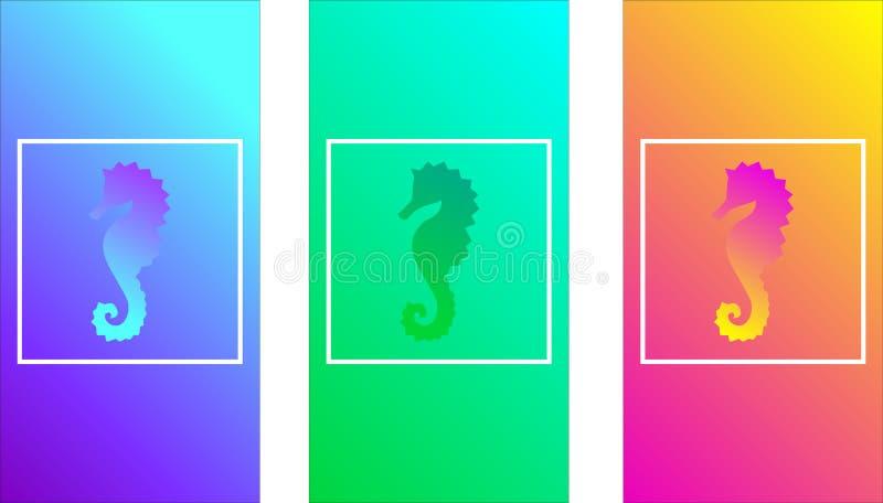 Pendientes suaves del color, seahorse, diseño moderno para una pantalla del teléfono, color ondulado, textura lisa iridiscente de libre illustration