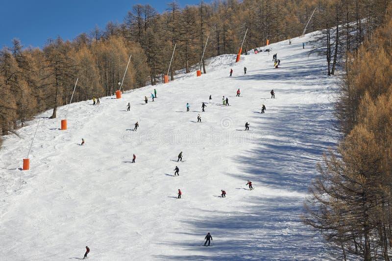 Pendii di corsa con gli sci con gli sciatori fotografie stock libere da diritti