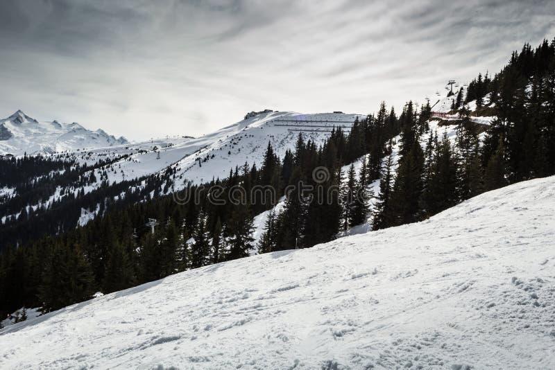 Pendio del pattino in alpi fotografia stock libera da diritti