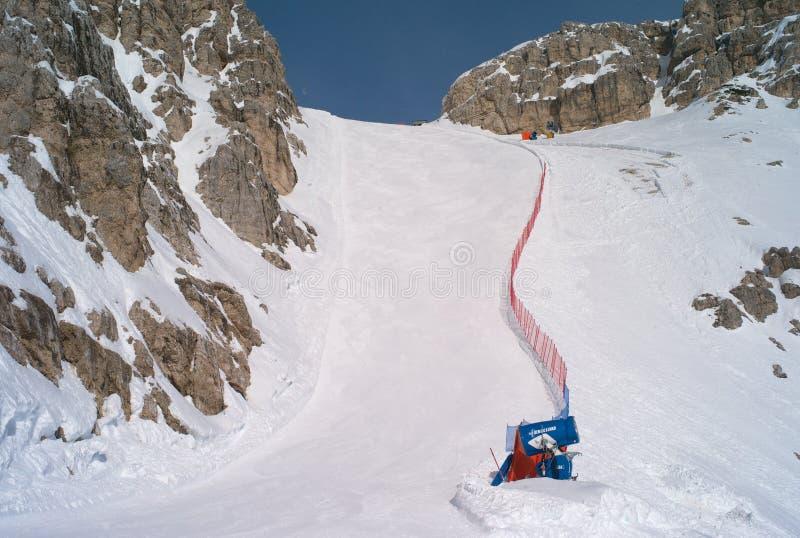 Pendio di sci Forcella Rossa in cortina d Ampezzo, Italia fotografia stock