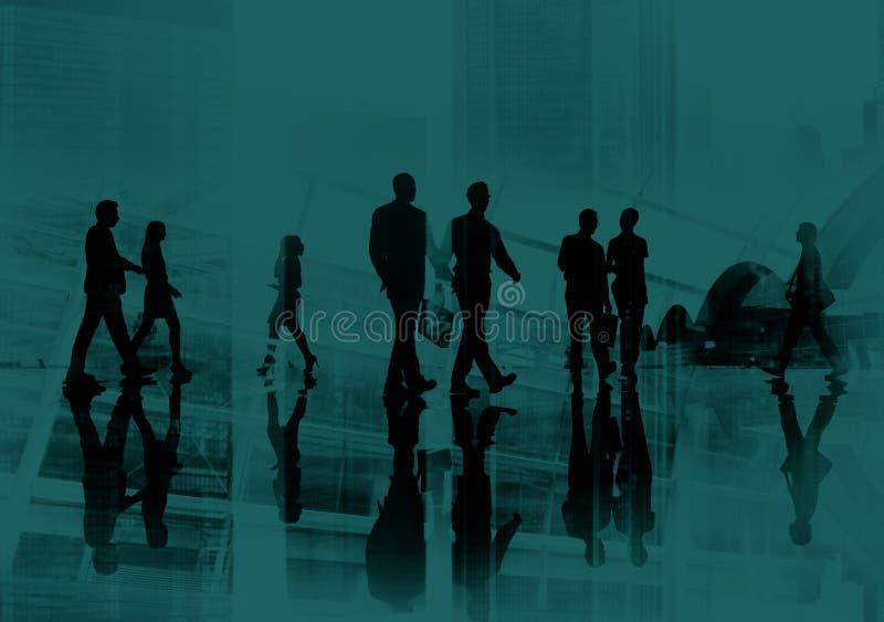 Pendlare för affärsfolk som går Cityscapebegrepp arkivbild