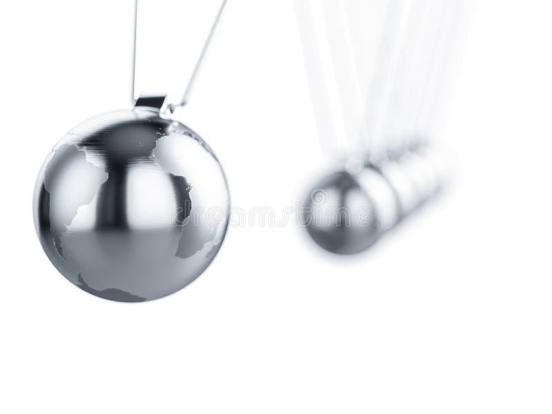 Pendolo di Newton con il globo della terra illustrazione di stock