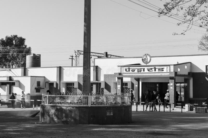 Pendra Road, den indiska staten Chhattisgarh, Bilaspur, Indien, maj 2018 - Pendra Road är en järnvägsstation i Bilaspur arkivfoto