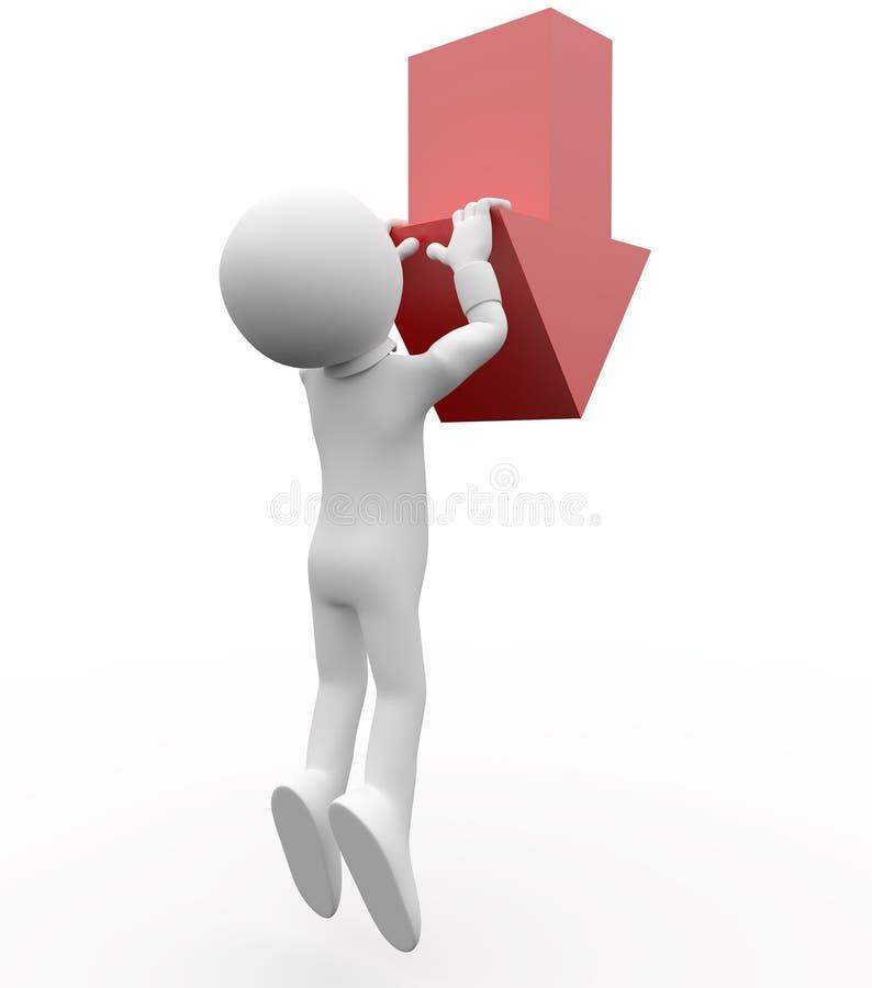 pendre 3D humain d'une flèche de rouge vers le bas illustration libre de droits
