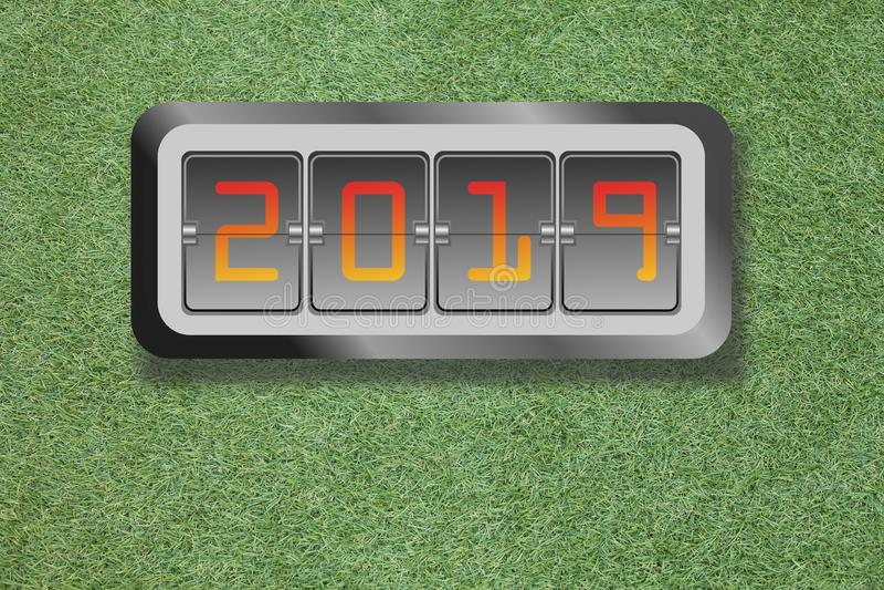 Pendule à lecture digitale de la nouvelle année 2019 sur l'herbe verte illustration de vecteur