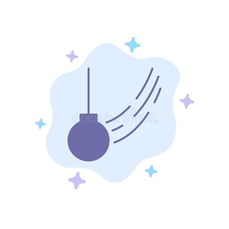 Pendule, oscillation, attachée, boule, icône bleue de mouvement sur le fond abstrait de nuage illustration stock