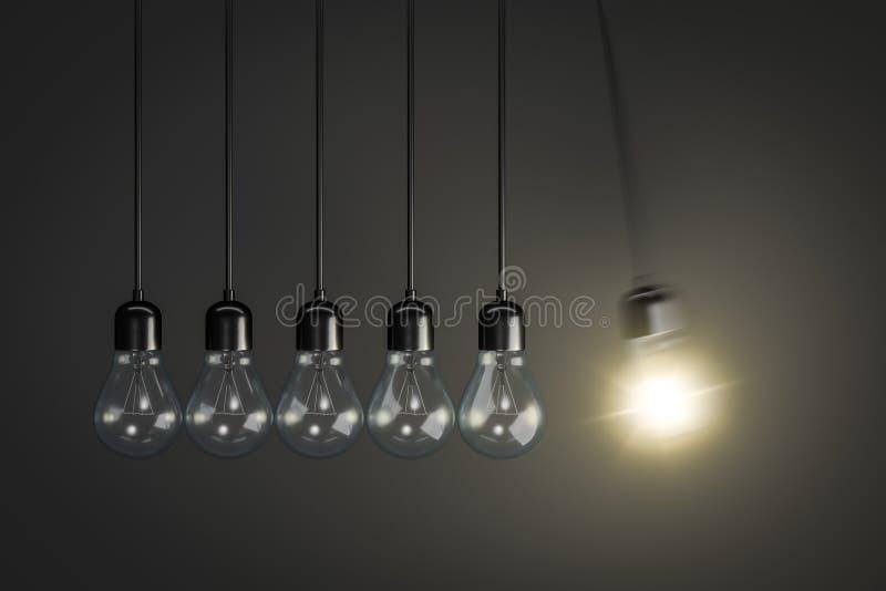 Pendulum of light bulbs stock illustration