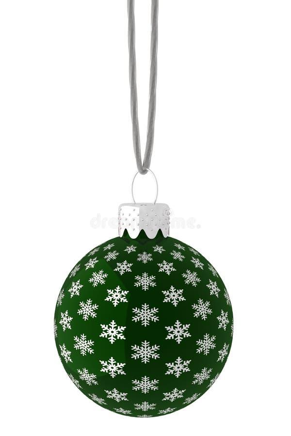 Pendurando o ornamento verde e de prata do floco de neve ilustração royalty free