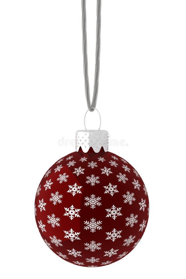 Pendurando o ornamento vermelho e de prata do floco de neve ilustração do vetor