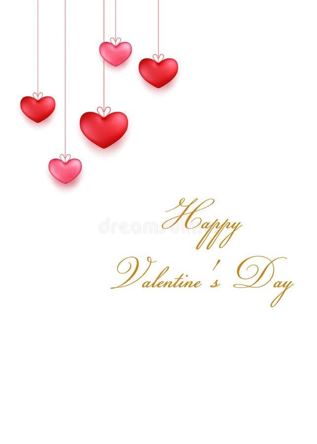 Pendurando o vermelho, aumentou corações Projeto de cartão do dia de Valentim no estilo 3d no fundo branco Objetos isolados ilustração royalty free