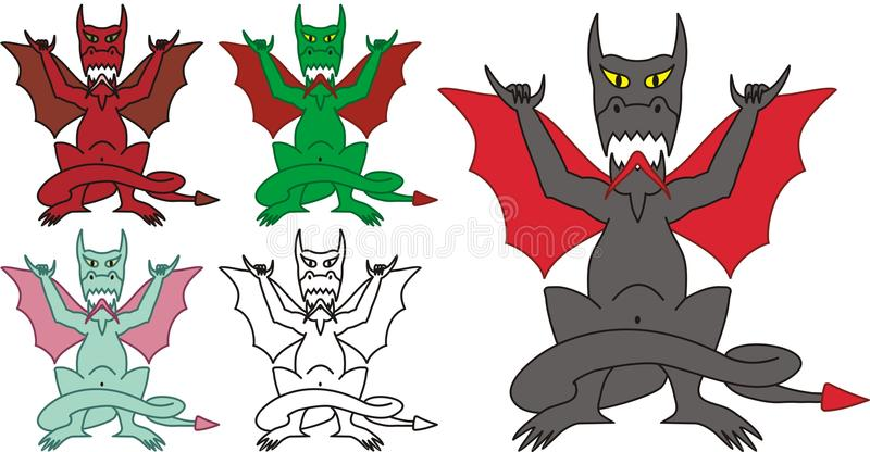 Pendure o dragão frouxo com havaiano assinam dentro o vetor ilustração stock