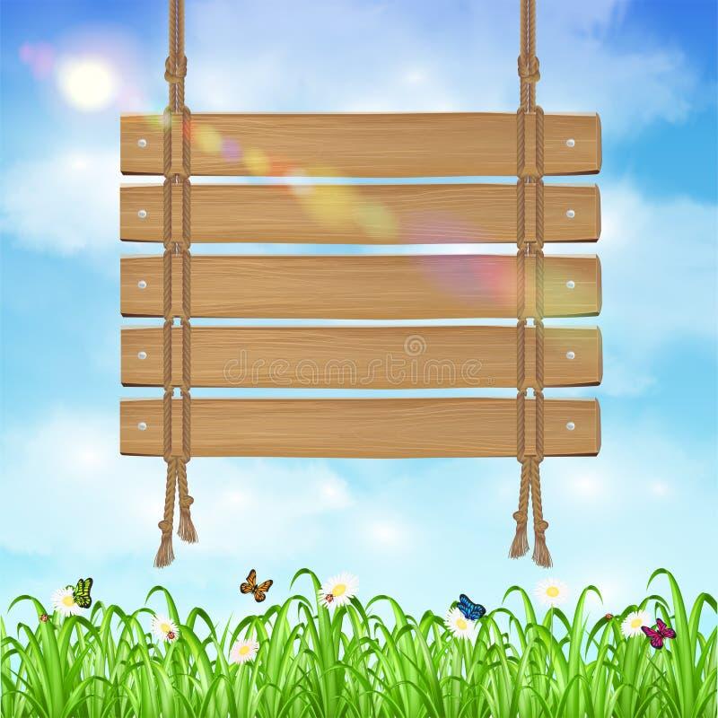 Pendure o sinal de madeira da placa com grama e céu ilustração royalty free