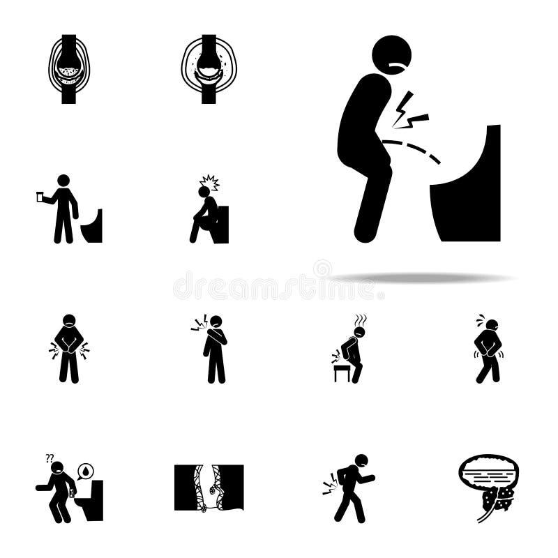 pene, dolore, icona dell'inguine Insieme universale delle icone della gente di dolore per il web ed il cellulare royalty illustrazione gratis