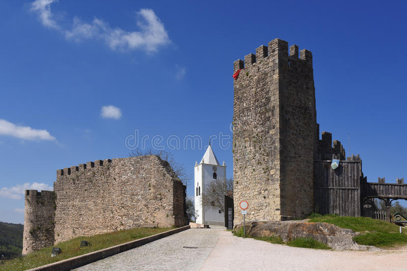 Penela. Walls and San Miguel church 15th century,Penela, Beiras region, Portugal stock photos