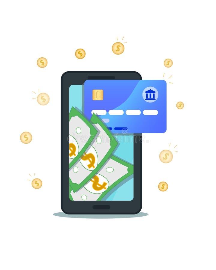 Pengaröverföring med den plana smartphonen och kreditkort och mynt som isoleras på vit bakgrund Online-packa ihop, mobil betalnin stock illustrationer