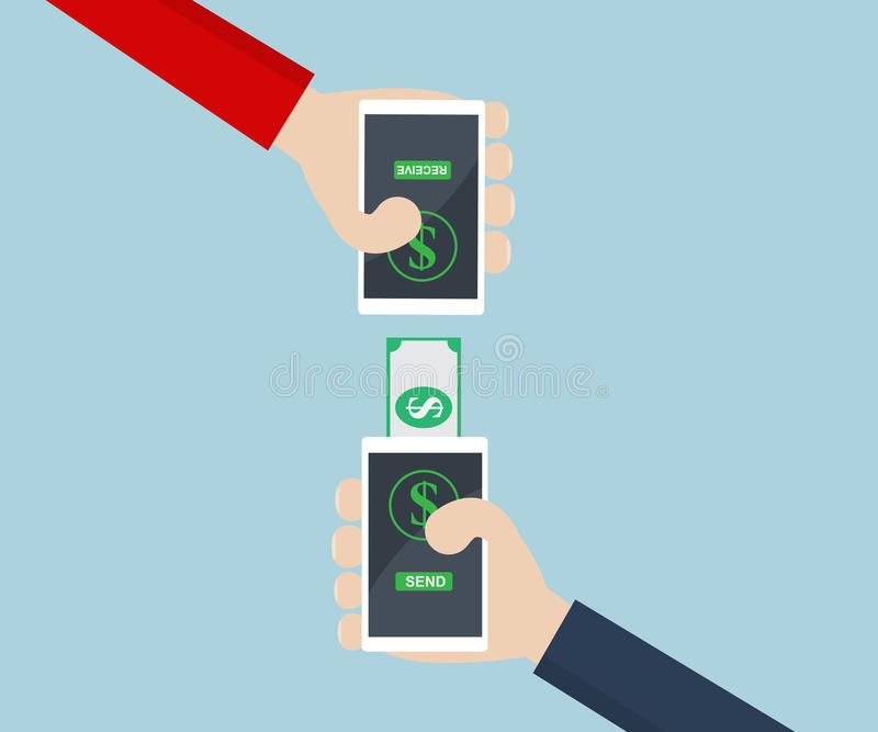 Pengaröverföring på den smarta telefonen vektor illustrationer