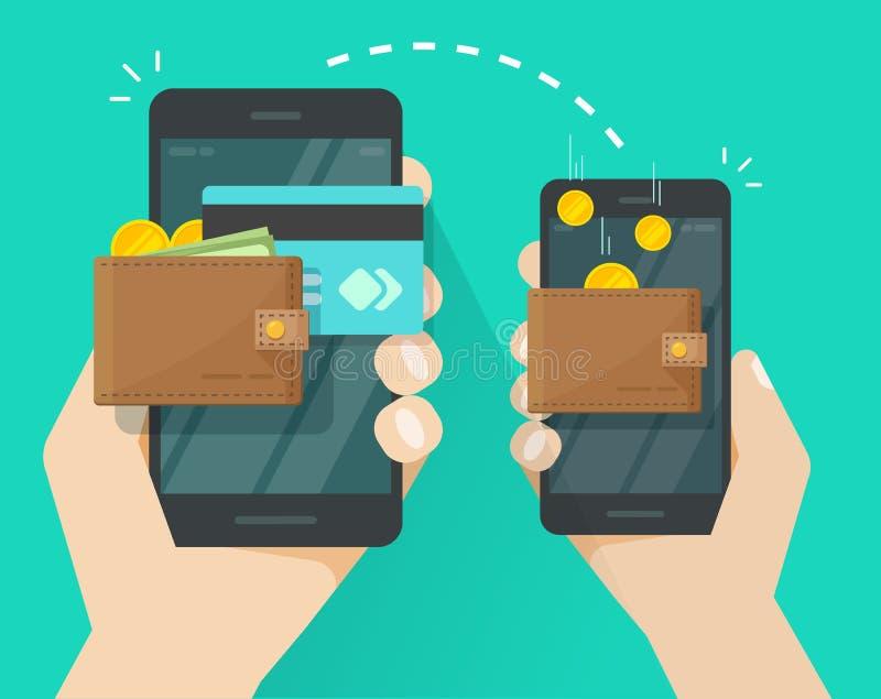 Pengaröverföringen via mobiltelefonvektorillustrationen, plana tecknad filmsmartphones med kontanta plånböcker, myntar kreditkort vektor illustrationer