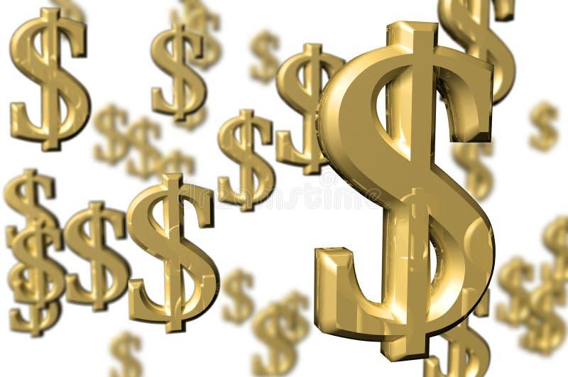 pengar 3d framför tecken royaltyfri illustrationer