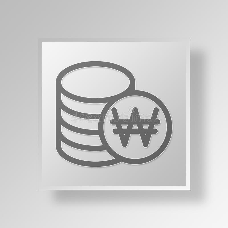 pengar 3D myntar symbolsaffärsidé vektor illustrationer