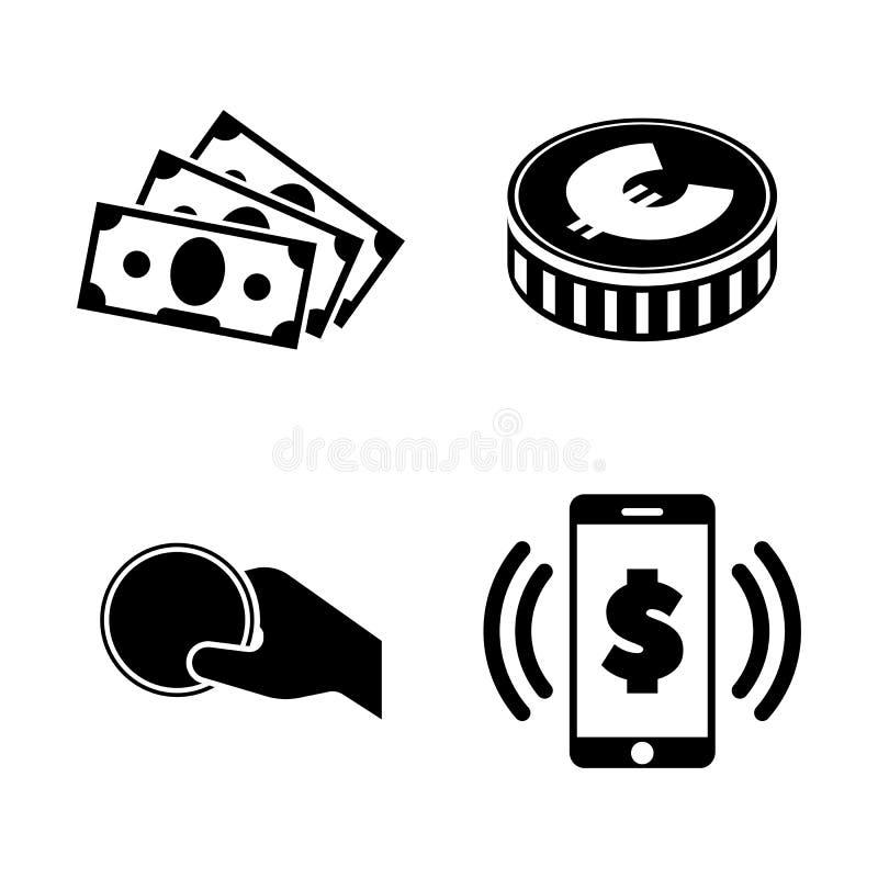 pengar Enkla släkta vektorsymboler stock illustrationer