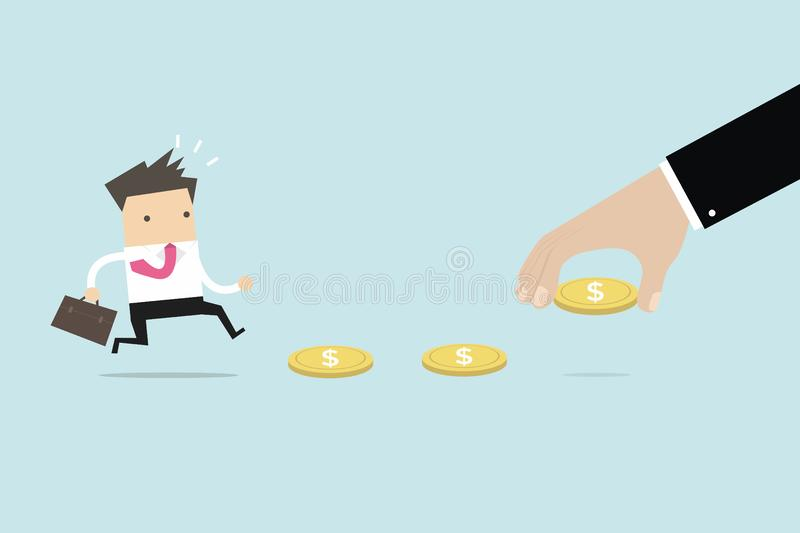 Pengar för affärshandbruk som lockar affärsmannen, bete eller finansiell fälla vektor illustrationer